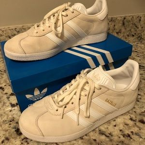 Adidas Gazelle Off White/White/Gold Sneakers Sz 7